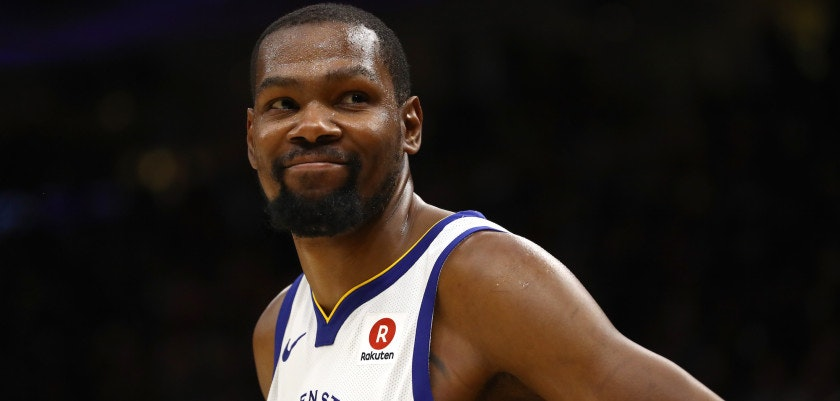 CLEVELAND, OH - JUNE 06:  Kevin Durant #35 of the Golden State Warriors reacts against the Cleveland Cavaliers in the second half during Game Three of the 2018 NBA Finals at Quicken Loans Arena on June 6, 2018 in Cleveland, Ohio. NOTE TO USER: User expressly acknowledges and agrees that, by downloading and or using this photograph, User is consenting to the terms and conditions of the Getty Images License Agreement.  (Photo by Gregory Shamus/Getty Images)