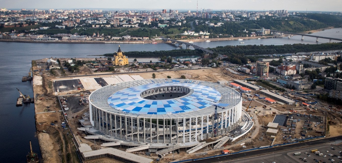 An aerial photo taken on August 26, 2017 shows the Nizhny Novgorod Stadium. Nizhny Novgorod Stadium will host several games of the FIFA World Cup 2018. / AFP PHOTO / Mladen ANTONOV        (Photo credit should read MLADEN ANTONOV/AFP/Getty Images)