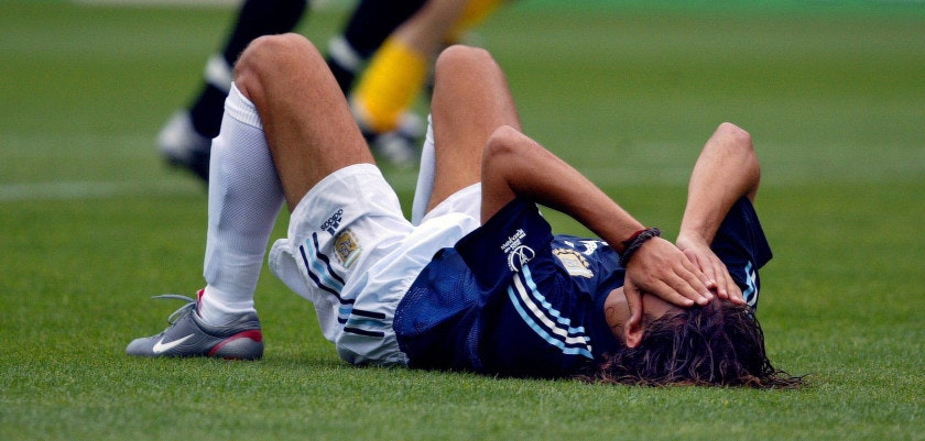 MIYAGI, JAPAN:  Argentinian midfielder Ariel Ortega holds his head after the Group F first round last match Sweden/Argentina of the 2002 FIFA World Cup in Korea and Japan, 12 June 2002 at Myagi Stadium. Sweden sent out Argentina off the tournament after a 1-1 draw.   AFP PHOTO ODD ANDERSEN (Photo credit should read PHILIPPE HUGUEN/AFP/Getty Images)