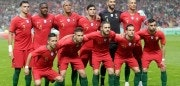 Portuguese football team (From L, front row) midfielder Joao Moutinho, defender Raphael Guerreiro, midfielder Bernardo Silva, defender Cedric, defender Jose Fonte, (back row) defender Pepe, midfielder William Carvalho, defender Bruno Alves, forward Gonçalo Guedes, goalkeeper Rui Patricio and forward Cristiano Ronaldo pose before the friendly football match between Portugal and Algeria, on June 7, 2018 at the Luz stadium  in Lisbon. (Photo by JOSE MANUEL RIBEIRO / AFP)        (Photo credit should read JOSE MANUEL RIBEIRO/AFP/Getty Images)