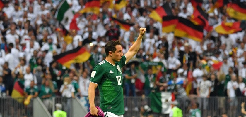 Mexico's midfielder Andres Guardado celebrates their 1-0 victory at the end of the Russia 2018 World Cup Group F football match between Germany and Mexico at the Luzhniki Stadium in Moscow on June 17, 2018. (Photo by Yuri CORTEZ / AFP) / RESTRICTED TO EDITORIAL USE - NO MOBILE PUSH ALERTS/DOWNLOADS        (Photo credit should read YURI CORTEZ/AFP/Getty Images)