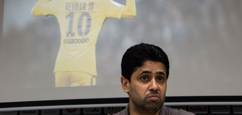 French football team Paris Saint-Germain's (PSG) Qatari president Nasser Al-Khelaifi delivers a press conference at the Neymar Junior Institute project, in Praia Grande, Sao Paulo state, Brazil on March 13, 2018.  Nasser Al-Khelaifi arrived in Brazil to visit the world's most expensive player, Neymar, who broke a bone in his right foot on February 25 and faces weeks of recuperation following surgery. The visit also takes place amid rumors swirling about the striker's intention to quit PSG. / AFP PHOTO / NELSON ALMEIDA        (Photo credit should read NELSON ALMEIDA/AFP/Getty Images)
