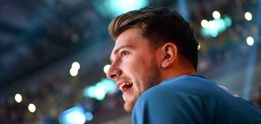 Real Madrid's Slovenian Luka Doncic looks on at the start of the Euroleague Final Four finals basketball match between Real Madrid and Fenerbahce Dogus Istanbul at The Stark Arena in Belgrade on May 20, 2018. (Photo by Andrej ISAKOVIC / AFP)        (Photo credit should read ANDREJ ISAKOVIC/AFP/Getty Images)