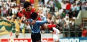 GUADALAJARA, MEXICO:  Morocco's goal keeper Badou Zaki jubilates with Mustapha Biaz (L) after their team qualified, 11 June 1986 in Guadalajara, during the soccer match between Portugal and Morocco for the World Cup. (FILM) AFP PHOTO (Photo credit should read AFP/AFP/Getty Images)