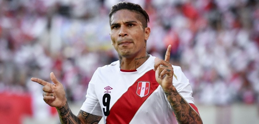 Peru's forward Paolo Guerrero celebrates after scoring a goal during an international friendly football match between Saudi Arabia and Peru at Kybunpark stadium in St. Gallen on June 3, 2018. (Photo by Fabrice COFFRINI / AFP)        (Photo credit should read FABRICE COFFRINI/AFP/Getty Images)