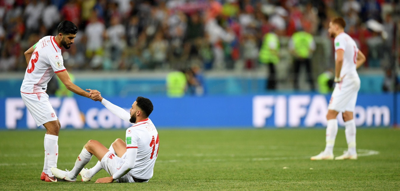VOLGOGRAD, RUSSIA - JUNE 18:  Ferjani Sassi and Dylan Bronn of Tunisia show their dejection following the 2018 FIFA World Cup Russia group G match between Tunisia and England at Volgograd Arena on June 18, 2018 in Volgograd, Russia.  (Photo by Matthias Hangst/Getty Images)