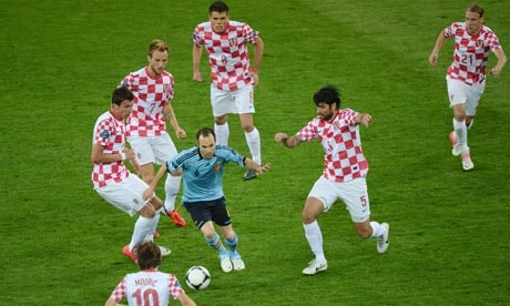 Spain's Andres Iniesta against Croatia