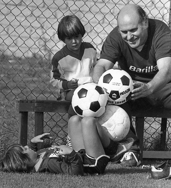 Daniele e Andrea al campo, con Giorgio Rossi