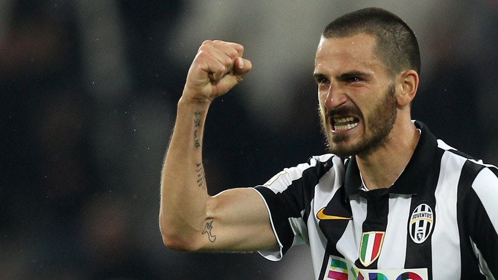 "Juventus' defender Leonardo Bonucci celebrates after scoring during the Italian Serie A football match Juventus vs Lazio at ""Juventus Stadium"" in Turin on April 18, 2015. AFP PHOTO / MARCO BERTORELLO (Photo credit should read MARCO BERTORELLO/AFP/Getty Images)"