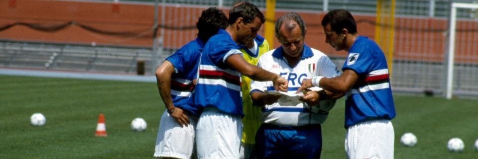 ©ravezzani/lapresse archivio storico sport calcio anni '90 Vujadin Boskov nella foto: l'allenatore della Sampdoria Vujadin Boskov con Mancini e Vialli